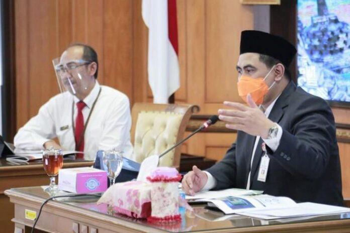 Wagub Taj Yasin saat menerima kunjungan Kepala BPS Jateng Sentot Bangun Widoyono